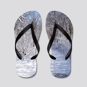 Snow Trail Scenery Flip Flops